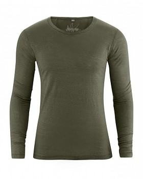 CEASAR pánské triko s dlouhým rukávem ze 100% konopí - khaki wolf
