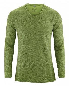 VOLKER pánské tričko s dlouhým rukávem z konopí a biobavlny - zelená weed