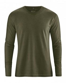 DIEGO pánské tričko s dlouhým rukávem z biobavlny a konopí - khaki wolf