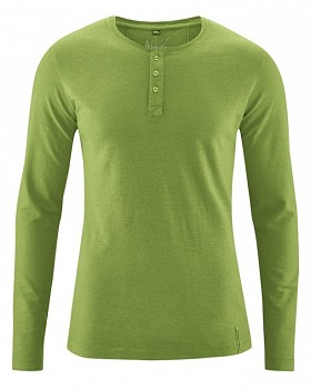 SLY pánské tričko s dlouhým rukávem z konopí a biobavlny - zelená weed