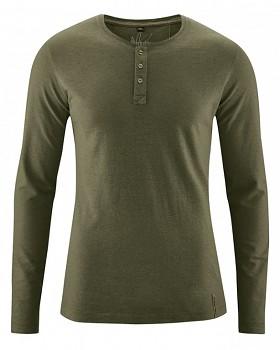 SLY pánské tričko s dlouhým rukávem z konopí a biobavlny - khaki wolf