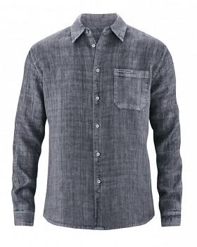BILLY pánská košile ze 100% konopí - tmavě šedá grafit