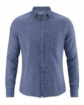 PATACHON pánská košile z konopí a biobavlny - modrá borůvková