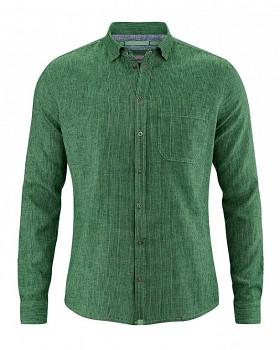 PATACHON pánská košile z konopí a biobavlny - zelená algae