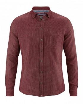 PATACHON pánská košile z konopí a biobavlny - červenohnědá chestnut