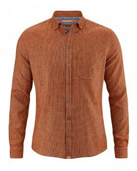 PATACHON pánská košile z konopí a biobavlny - oranžová fox