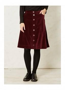 DANTI dámská sametová propínací sukně ze 100% biobavlny - lilková