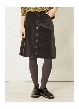 DANTI dámská sametová propínací sukně ze 100% biobavlny - tmavě šedá charcoal