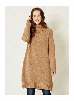 CARLA dámská vlněná tunika - béžová camel