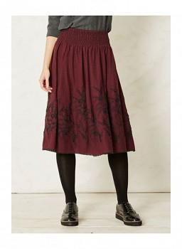 ALLORI dámská vyšívaná sukně z konopí - vínová