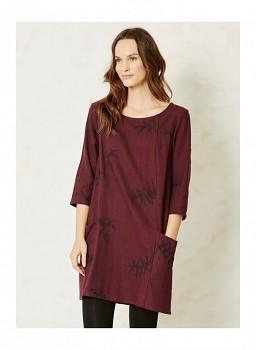 ALLORI dámské šaty s 3/4 rukávy z konopí - vínová