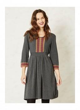 ZOLA dámské šaty z biobavlny a vlny - šedá uhlová
