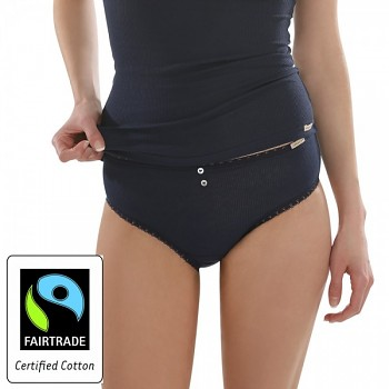 Comazo Earth Dámské klasické žebrované kalhotky jazz-panty z biobavlny - modrá marine