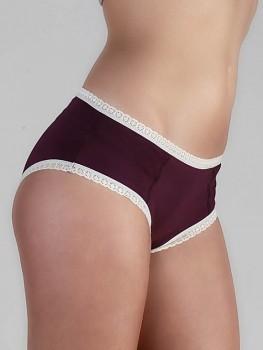 HIP dámské kalhotky (hipster) s krajkou z biobavlny - modrofialová