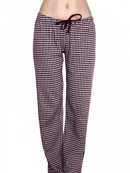 Albero dámské pyžamové kalhoty ze 100% biobavlny - fialová kostka