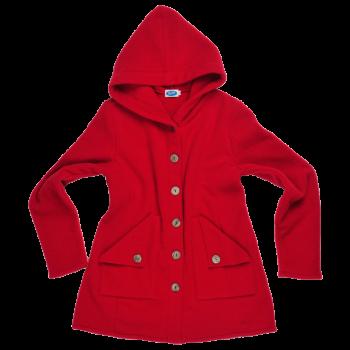 MONA dámský kabát ze 100% bio merino vlny - červená burgund