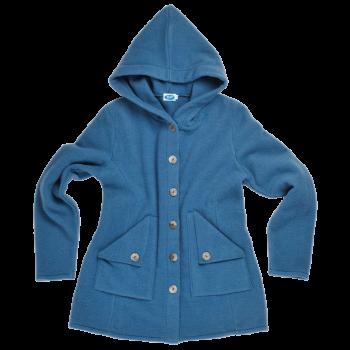 MONA dámský kabát ze 100% bio merino vlny - modrá pacific