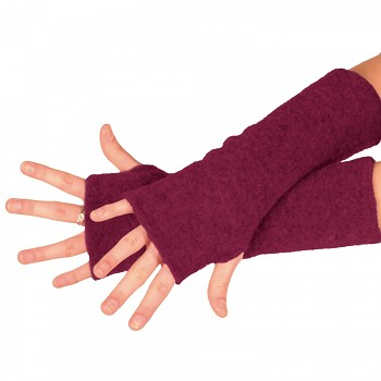 REIFF fleesové návleky na ruce ze 100% bio merino vlny - fialová berry