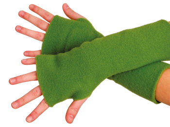 REIFF fleesové návleky na ruce ze 100% bio merino vlny - zelená apple
