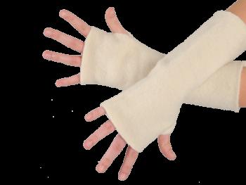 REIFF fleesové návleky na ruce ze 100% bio merino vlny - přírodní