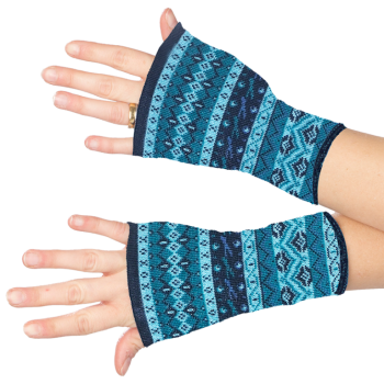 THEA dámské návleky na ruce ze 100% bio merino vlny - modrá