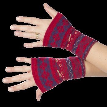 THEA dámské návleky na ruce ze 100% bio merino vlny - červená