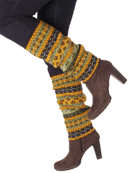 THEA dámské návleky na nohy ze 100% bio merino vlny - žlutá