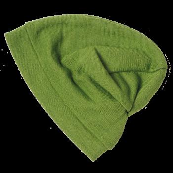 BEANIE čepice z bio merino vlny a hedvábí - zelená