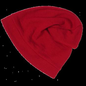 BEANIE čepice z bio merino vlny a hedvábí - červená