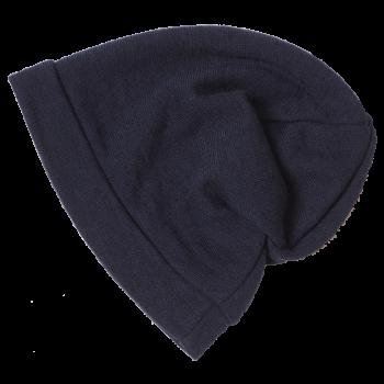 BEANIE čepice z bio merino vlny a hedvábí - modrá