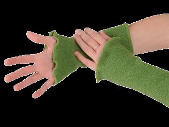 KREPP dámské návleky na ruce z vlněného buklé - zelená