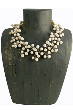 WHITE perlový náhrdelník