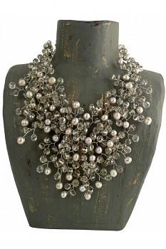 SILVER PEARLS náhrdelník s perlami a korálky