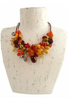 ORANGE WIRE náhrdelník s říčními lasturami, polodrahokamy a korálky