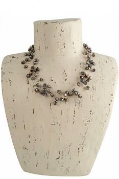 KEISHI 10ti řadý náhrdelník s perlami - stříbrná
