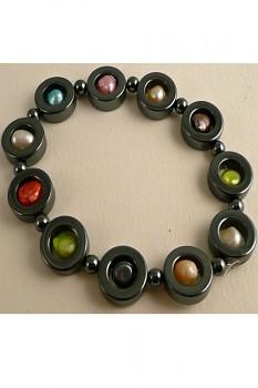 HEM náramek z hematitu a říčních perel