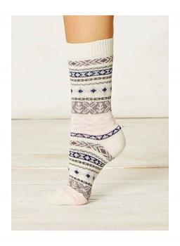 NERA dámské ponožky z biobavlny a vlny - béžová bone