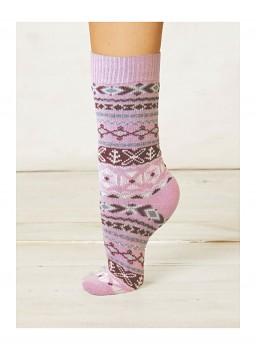 NERA dámské ponožky z biobavlny a vlny - růžová rose