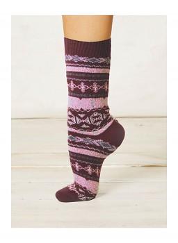 NERA dámské ponožky z biobavlny a vlny - fialová wine