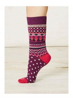 SASCHA dámské ponožky z biobavlny a vlny - fialová plum