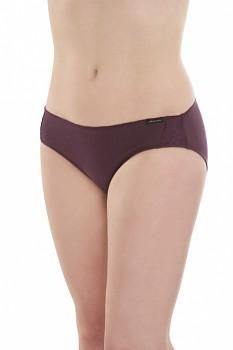 Comazo Earth Dámské žebrované kalhotky s krajkou z biobavlny - fialová švestková
