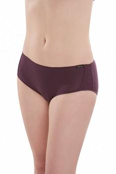 Comazo Earth Dámské žebrované kalhotky panty s krajkou z biobavlny - fialová švestková