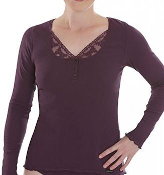 Comazo Earth Dámské žebrované triko s dlouhými rukávy z biobavlny - fialová švestková
