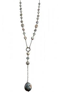 Náhrdelník s říčními perlami a korálky