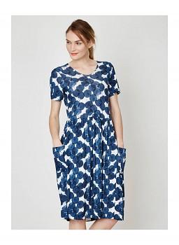 FEDERICA dámské šaty z bambusu a biobavlny - modrý potisk plums