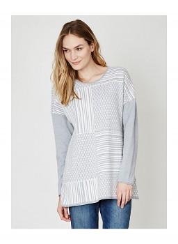 IRENA dámský svetr z vlny a biobavlny - šedá marle