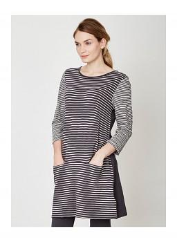 EDITH dámské šaty ze 100% biobavlny - uhlový proužek