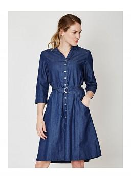 FRANCES dámské denimové šaty ze 100% biobavlny - modrá indigo