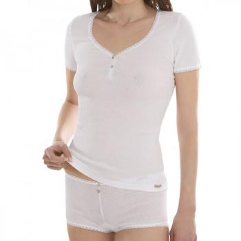 Comazo Earth Dámské žebrované tričko z biobavlny - bílá