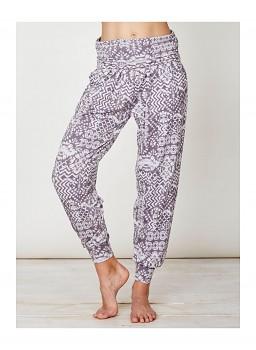 ZIGGY dámské kalhoty z bambusu a biobavlny - šedofialový vzor